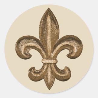 French Golden Fleur De Lis Crest Classic Round Sticker