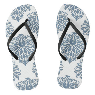 French Gray Elegant Damask Flip Flops