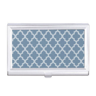French Gray Moroccan Moods Quatrefoil Business Card Holder