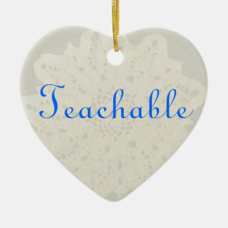 French Grey Character Holiday Teachable Heart Ornament