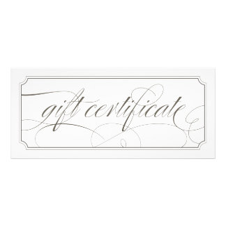 French Grey Elegant Script Gift Certificates Full Color Rack Card