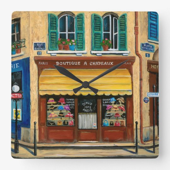 French Hats and Purses Shop Wallclock