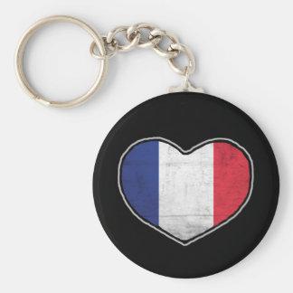 French Heart Basic Round Button Keychain