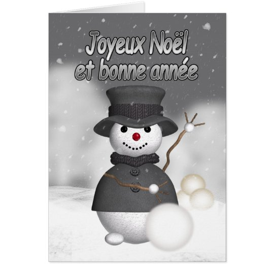 French holiday card with modern stylish snoman