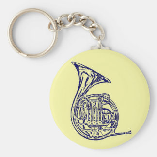 French Horn Basic Round Button Keychain