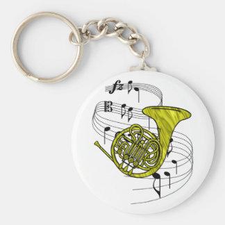 French Horn Basic Round Button Keychain