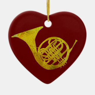French Horn Ceramic Ornament