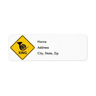 French Horn Crossing Highway Sign Return Address Label