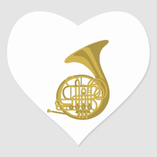 French Horn Heart Sticker