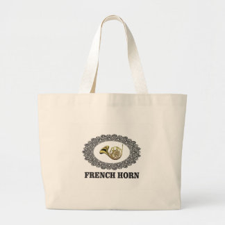 french horn in ring large tote bag