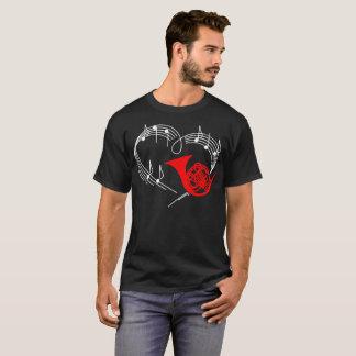 French Horn Music Instrument Heartbeat Rhythm Shir T-Shirt
