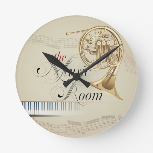 French Horn Music Room Round Wall Clock