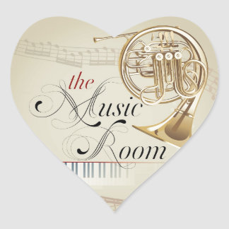 French Horn Music Room Heart Sticker