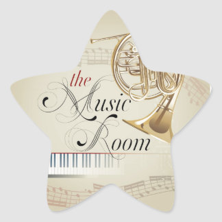French Horn Music Room Star Sticker