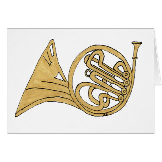 French Horn Musical Instrument Drawing Card