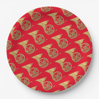 French Horn Musical Instrument Drawing on Red 9 Inch Paper Plate