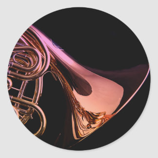 French Horn Musical Instrument Image Classic Round Sticker