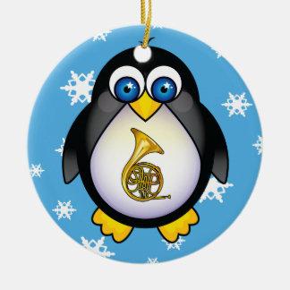 French Horn Penguin Blue Christmas Gift Ceramic Ornament