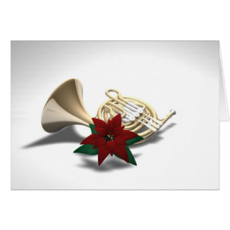 French Horn Poinsettia Christmas Card