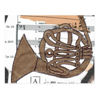 (French) Horn postcard