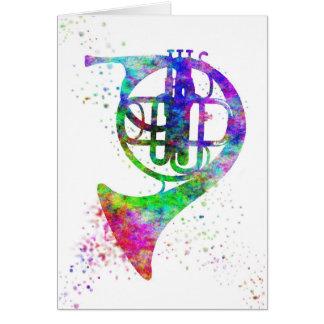 French Horn Rainbow Card