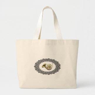 french horn ring large tote bag