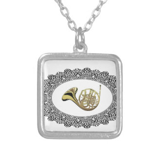 french horn ring silver plated necklace