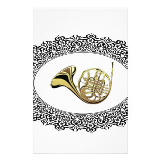 french horn ring stationery design