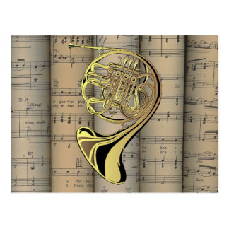 French Horn ~ Rolled Sheet Music Back ~ Musical Postcard