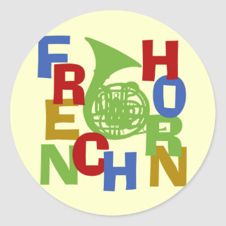 French Horn Scramble Classic Round Sticker