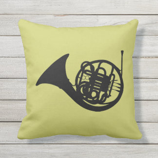 FRENCH HORN SILHOUETTE THROW PILLOW