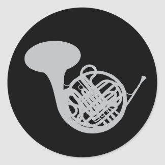 French Horn Silver Colored  Music Round Stickers