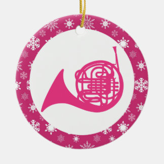 French Horn Snowflake Music Christmas Ornament