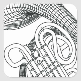 French horn square sticker