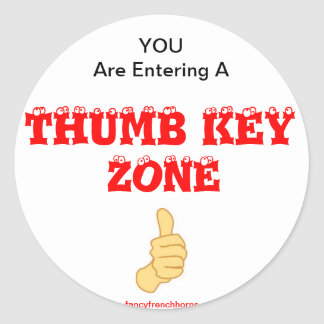 French Horn Thumb Key Alert Classic Round Sticker
