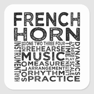 French Horn Typography Square Sticker