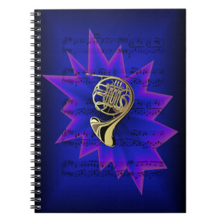 French Horn with Nightfall Background Notebooks