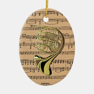 French Horn ~ With Sheet Music Background Ceramic Ornament