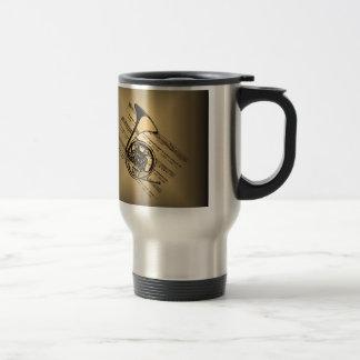 French Horn With Sheet Music Background Travel Mug