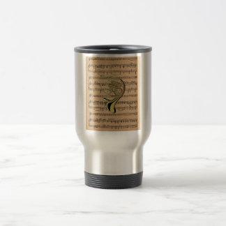 French Horn ~ With Sheet Music Background Travel Mug