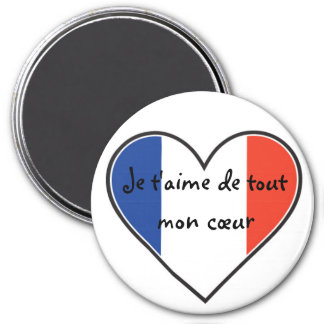 French - I love you with all my heart 3 Inch Round Magnet