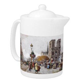 French Impressionism Paris Street Market Teapot