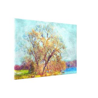 French Impressionist Art Style Autumn Lake Scene Canvas Print
