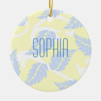 French Inspired Leaves Round Ceramic Ornament