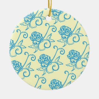 French Inspired Roses Round Ceramic Ornament