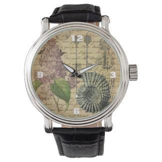 French keys seashell modern vintage French Lilacs Wristwatch