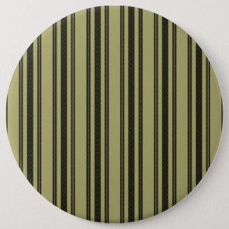 French Khaki Mattress Ticking Black Double Stripe 6 Inch Round Button