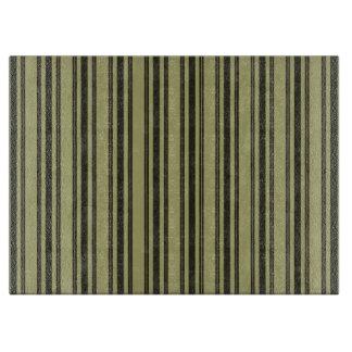 French Khaki Mattress Ticking Black Double Stripe Boards