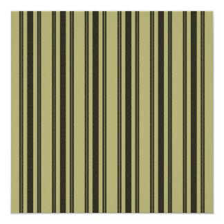 French Khaki Mattress Ticking Black Double Stripe Card
