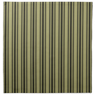 French Khaki Mattress Ticking Black Double Stripe Cloth Napkins
